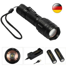 Neu CREE T6 LED Taschenlampe Fokus Zoom 18650 Akkus Batterien USB Ladegerät IP65