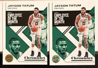 JAYSON TATUM LOT(2) - 2019-20 Chronicles Bronze & Base #4 Employee Of The Month