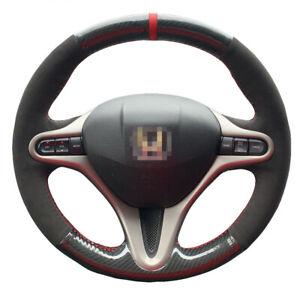 Carbon Suede Custom Steering Wheel Cover Red Stripe for Honda Civic Gen G14