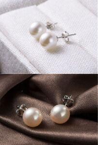 925 Sterling Silver Stud Like Cultured Freshwater Pearl Earrings Wed Bridal-8MM