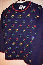 Polar Floral Navy Blue Acrylic Soft Knit Globaltex Kids Girls L 14 Sweater NEW
