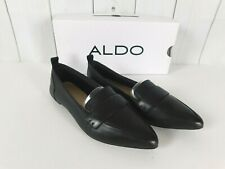 6a71d3ae878 NWB Aldo Cherry Hill Black Leather Pointed Toe Loafer Flats - Size 6.5