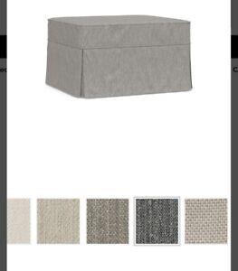 "NEW Pottery Barn PB Basic Slipcover Ottoman Cover 24"" X 28 Gray"