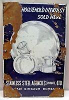 Vintage Porcelain Enamel Sign Utensils Vessels Advertising Collectible #56