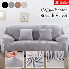 UK 1/2/3/4 Seater Velvet Elastic Stretch Sofa Covers Slipcover Protector Settee