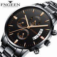 FNGEEN Men Luxury Military Stainless Steel Analog Strap Sport Quartz Wrist Watch