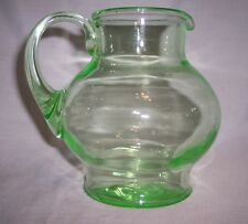 Tiffin, Small Depression Apple Green Bulbous Pitcher with applied green handle
