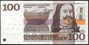 NETHERLANDS  De  Nederlandsche  Bank 100 GULDEN 1970 P:93a XF
