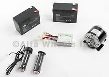 350W 24V DC electric motor kit w SLA Batteries, Speed Controller & Throttle