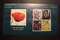 GB 2008  Commemorative Stamps~Lest We Forget  M/S~Very Fine Used Set~UK Seller
