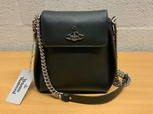 VIVIENNE WESTWOOD WINDSOR BUCKET BAG BLACK LEATHER NEW