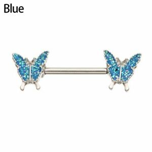 Butterfly Fake Clip On Barbell Nipple Ring Body Jewelry Breast Rings Piercing
