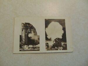 L1772 Postcard RPPC military war in action Tank Night firing