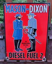LARGE OLD 1951 MASON-DIXON HIGH-TEST GASOLINE PORCELAIN ENAMEL GAS STATION SIGN