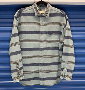 90s Eddie Bauer Striped Flannel Long Sleeve Button Down USA Made size M VINTAGE