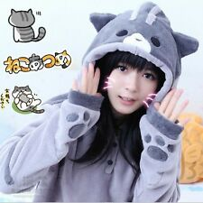 Kawaii Clothing Cute Ropa Cat Neko Atsume Hoodie Cosplay Costume Paws Ears Tail