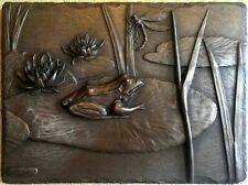 Cold Cast Bronze Frog Lily Pad Signed Wall Art Sculpture Relief HAND MADE