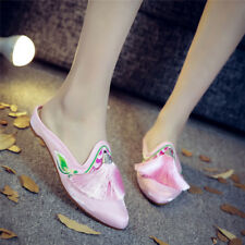 Ladies Chinese Embroidered Casual Tassels Slippers Muesl Pointy Toe Shoes Sandal