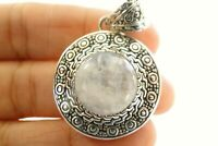 Rainbow Moonstone Solitaire Ornate Frame 925 Sterling Silver Pendant