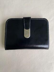 Beautiful Vintage Black Italian Leather & White Metal Ladies Purse / Wallet