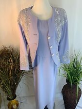 Alfred Angelo Light Purple Formal Mother's Dress with Jacket Size 12 Beaded Lace