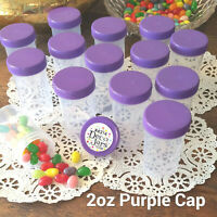 18 JARS Purple Lid Top Plastic Pill Bottle 2 ounce Container #K4314 DecoJars