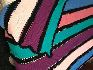 Hand Crocheted Striped Twin Afghan Lap Blanket Throw Purple Pink Blue 68 X 80