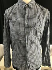 Hugo Boss Men's L/S Button Down Grey/Blue Plaid Checks Dress Slim Shirt X-Large