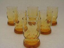 VTG Mid Century Modern Amber Twist Swirl Design Juice Cocktail Glass Drink Lot