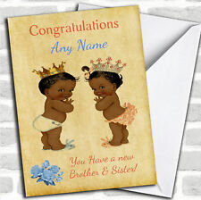 You Have Twin Brother & Sister Vintage Black Baby's New Baby Personalised Card