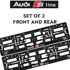 2 x License Number Plate Holder Surround for New Audi S-Line Car - Black Effect