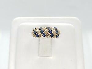 14k Yellow Gold Natural Blue Round Sapphire Diamond Ring 3/4 CT