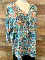 New~$46~ERIKA Women 1X Plus Blue & Gold-Floral 3/4-Sleeve Poly+ Henley-Shirt Top