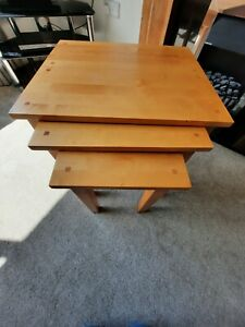 Solid oak nest of tables used