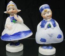 Vintage 1930's Bisque Figurine Cute Dutch Boy & Girl Bells Neat