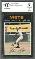Nolan Ryan Card 1971 Topps #513 New York Mets (Centered) BGS BCCG 8