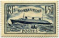 "FRANCE TIMBRE STAMP YVERT 299 "" PAQUEBOT NORMANDIE  1 F 50 BLEU 1935 "" NEUF x TB"