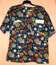 Space Ships on Blue Scrubs Top w 4 Pockets (2 in BACK) Mens size Small FSMTP19