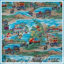BonEful Fabric FQ Cotton Scenic Route 66 Motorcycle Beach Coast Mountain VTG OOP