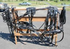 Amish made beta - biothane draft horse team parade harness with diamond spots