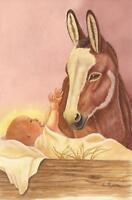 CHRISTMAS JESUS CHRIST CHILD NATIVITY DONKEY CRADLE LISTED ARTIST ART PAINTING