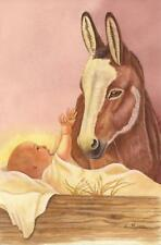 CHRISTMAS JESUS CHRIST CHILD NATIVITY DONKEY CRADLE LISTED ARTIST ART PAINTING