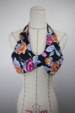 Vanilla/beach Womens Black Floral Halter Bikini Top Size D/dd