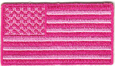 PINK AMERICAN FLAG - USA - BREAST CANCER AWARENESS - PATRIOTIC - Iron On Patch
