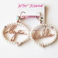 New Betsey Johnson Faux Pearl Drop Earrings Gift Fashion Women Party Jewelry