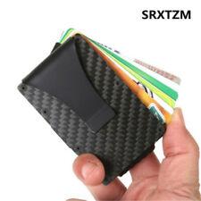 Luxury RFID Blocking Slim Carbon Fiber Money Clip Minimalist Wallet Card Holder