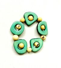 Tagua Nut Bracelet in Green and White Tag417, Organic Stretch Bracelet