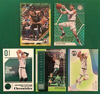 JAYSON TATUM 5-Card *GREEN LOT* Rare SP Parallels/Prizm in Boston Celtics Green!