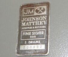 RARE JOHNSON MATTHEY (LOGO REVERSE) 5g (5 GRAM) 999 FINE SILVER BULLION BAR