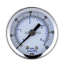 New Black Mini Dial Pressure Gauge Manometer Water Air Oil 0-60psi 0-4bar